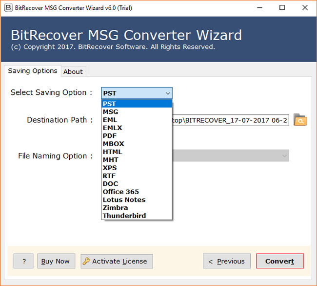 MSG Converter Wizard Screenshot