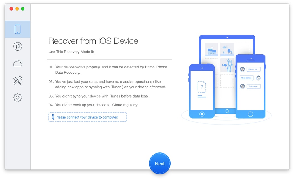 Primo iPhone Data Recovery for Mac Screenshot