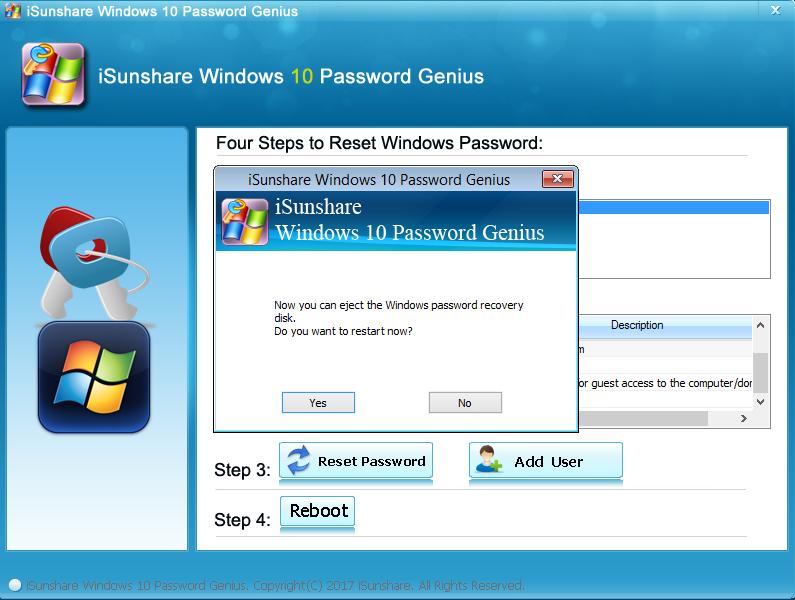 iSunshare Windows 10 Password Genius Screenshot 5