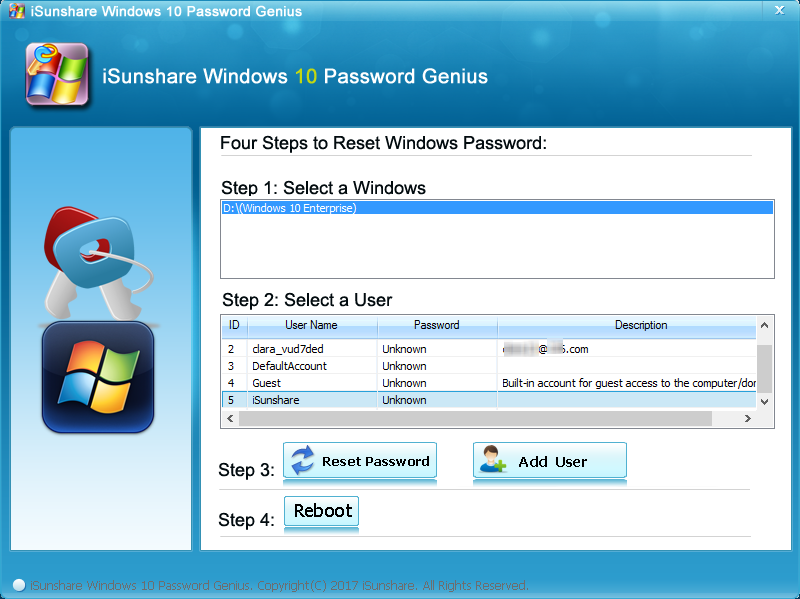 iSunshare Windows 10 Password Genius Screenshot 3