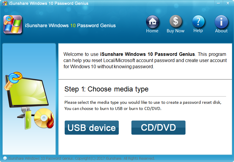 iSunshare Windows 10 Password Genius Screenshot