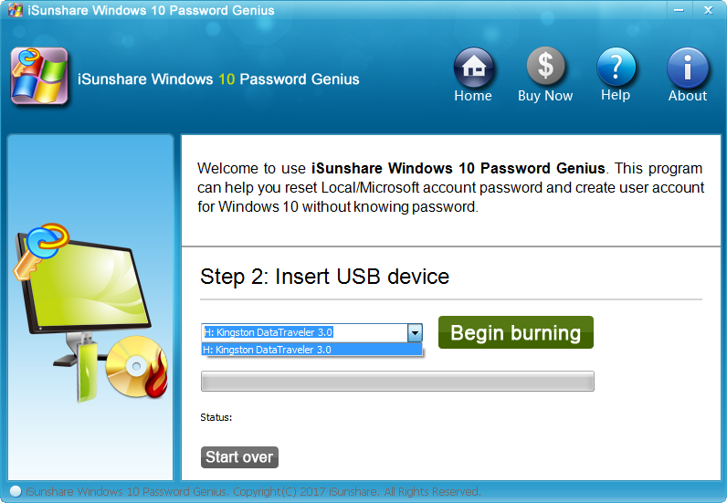iSunshare Windows 10 Password Genius Screenshot 2