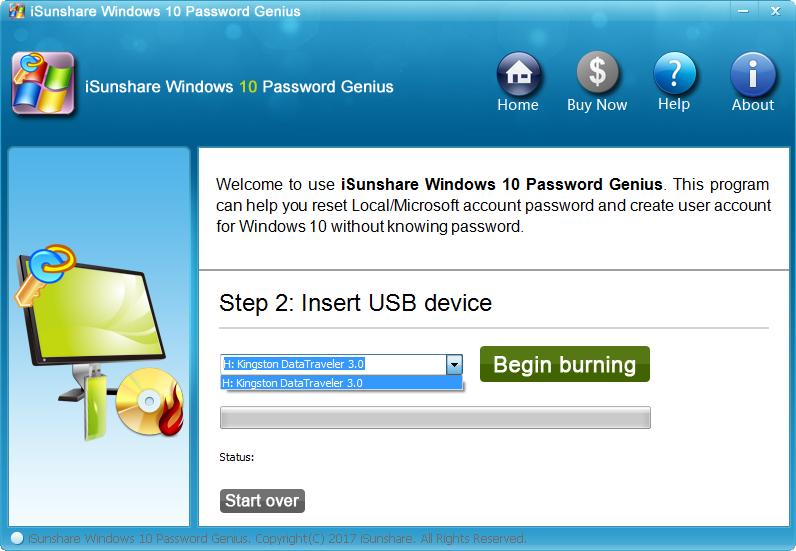 iSunshare Windows 10 Password Genius Screenshot 2