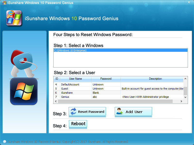 iSunshare Windows 10 Password Genius Screenshot 4