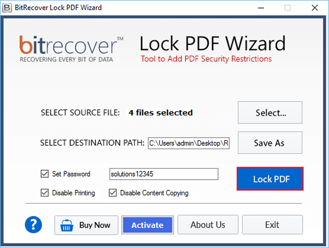 Lock PDF Wizard Screenshot