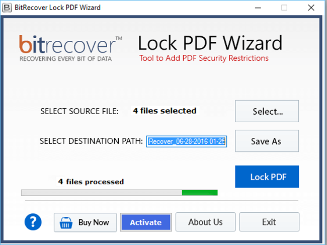 Lock PDF Wizard Screenshot 2