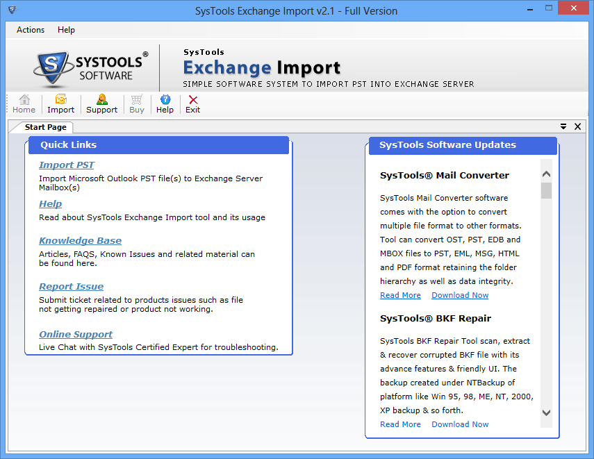 SysTools Exchange Import Screenshot