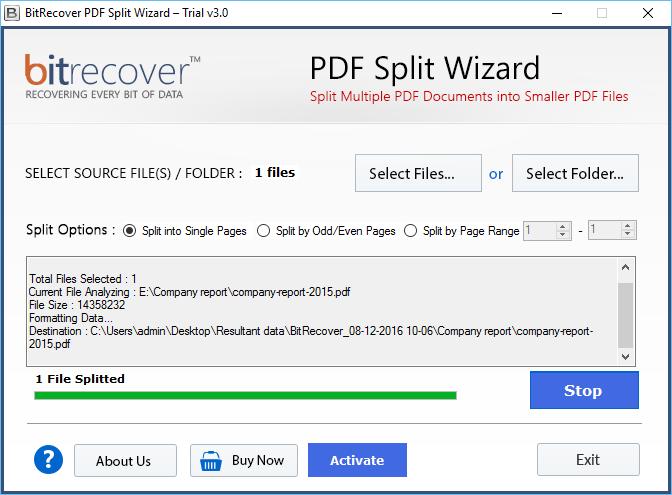 PDF Split Wizard Screenshot 2