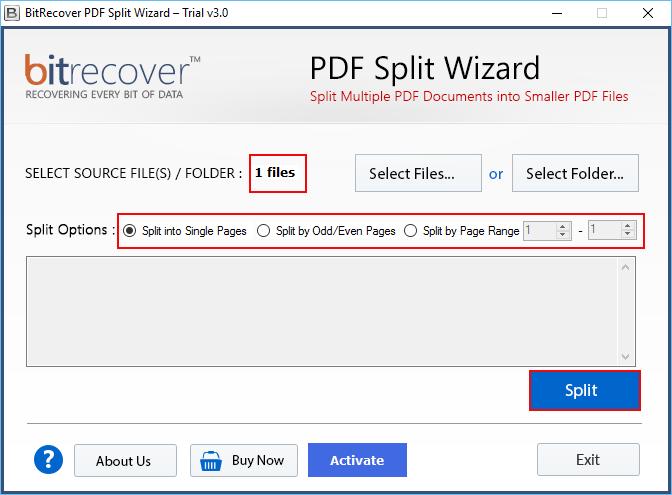 PDF Split Wizard Screenshot 1