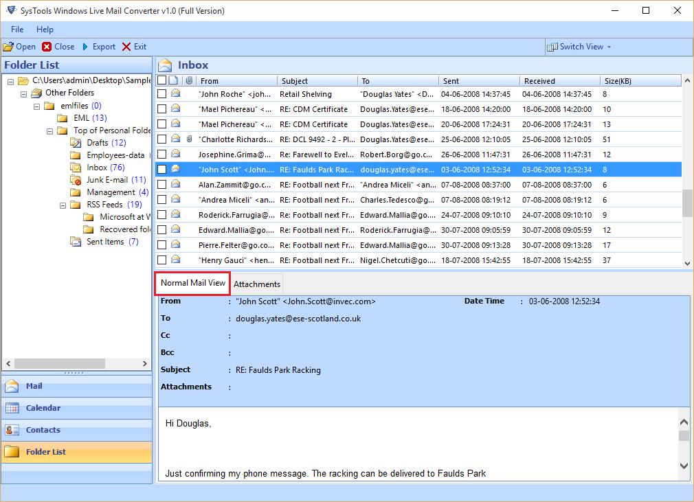 SysTools Windows Live Mail Converter Screenshot 2