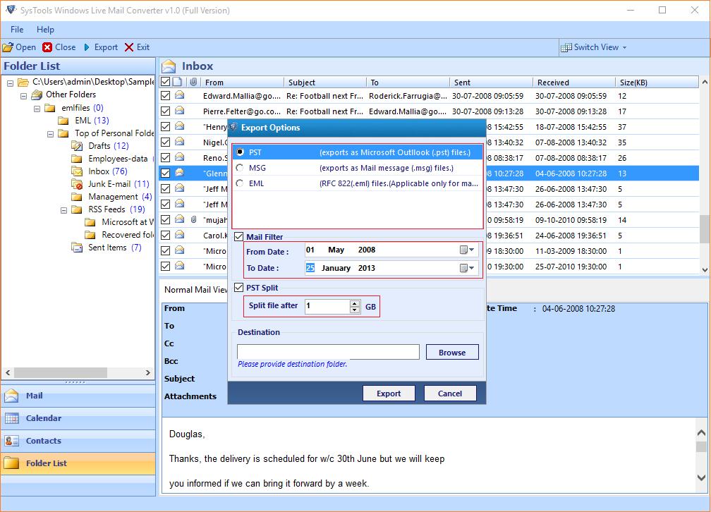 SysTools Windows Live Mail Converter Screenshot 3
