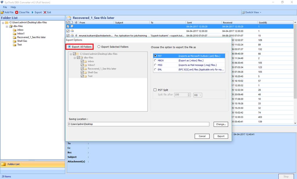 SysTools DBX Converter Screenshot 2