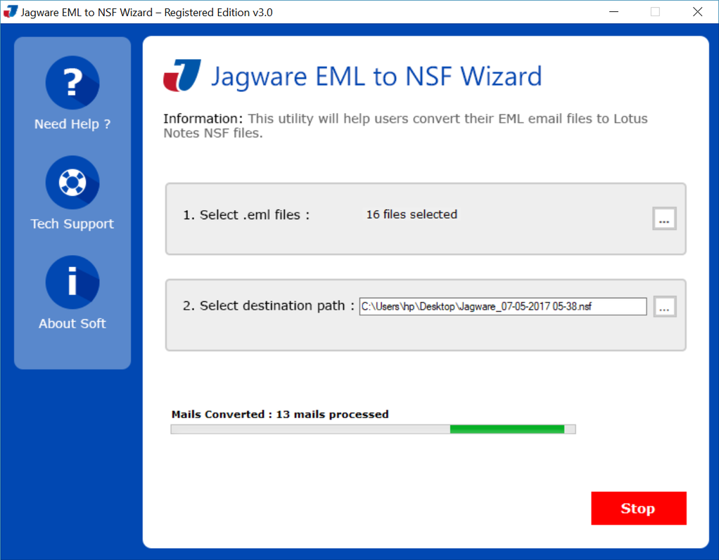 Jagware EML to NSF Wizard Screenshot 1