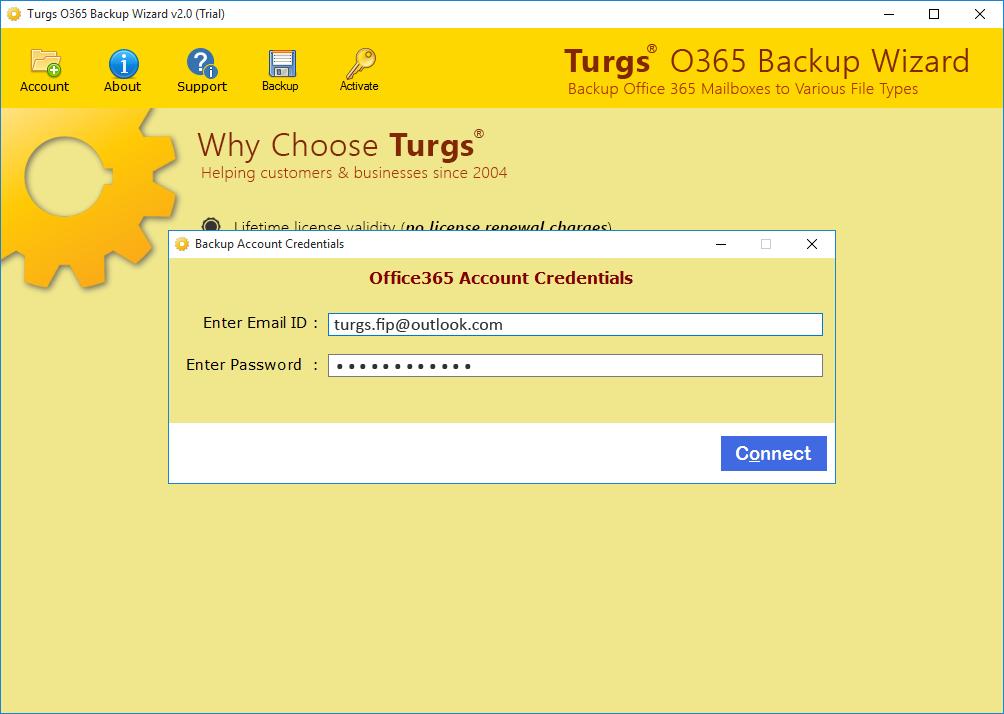 O365 Backup Wizard Screenshot