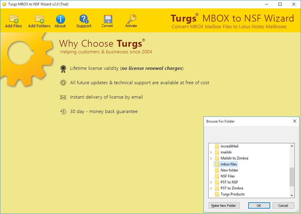 MBOX to NSF Wizard Screenshot