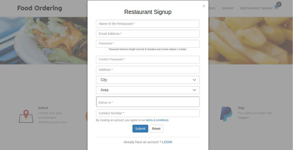 Restaurant Seat Reservation System Screenshot