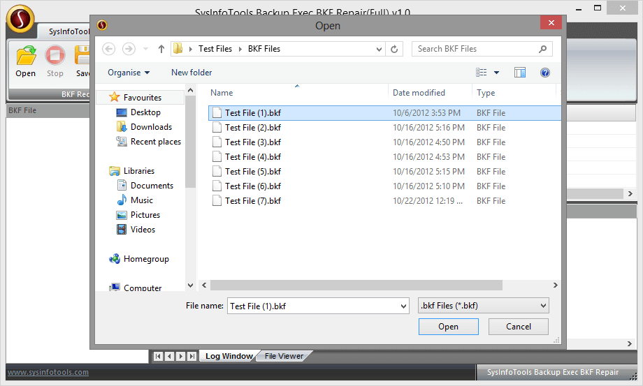 SysInfoTools Backup Exec BKF Repair Screenshot
