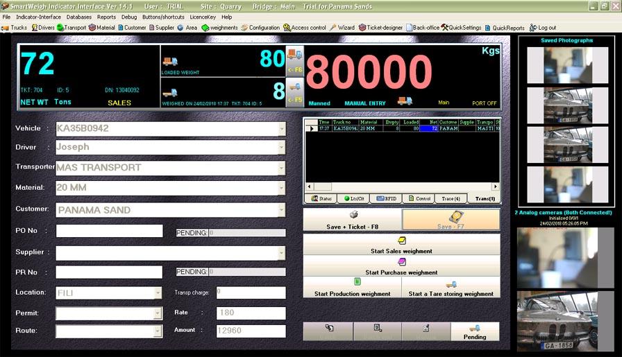 Weighbridge software Smartweigh Screenshot