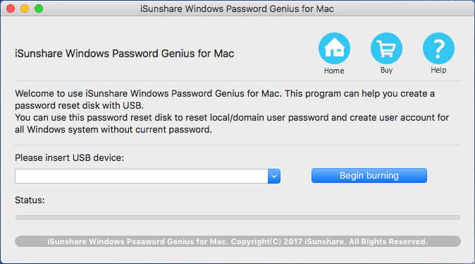 iSunshare Windows Password Genius for Mac Screenshot