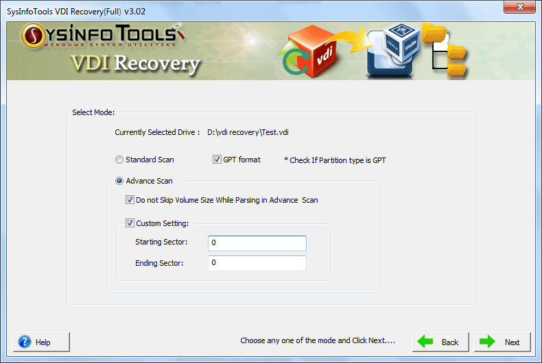SysInfo VDI File Recovery Software Screenshot