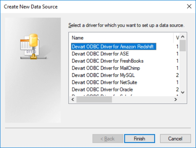 ODBC Driver for Amazon Redshift Screenshot