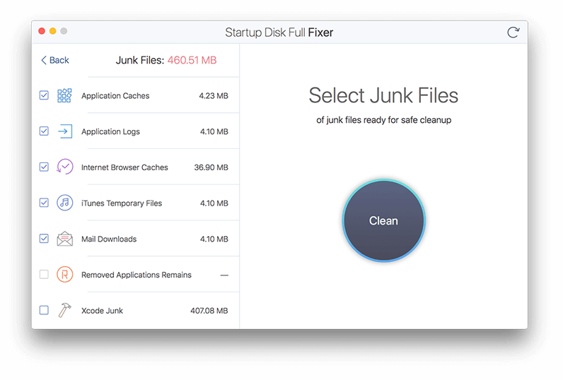 Startup Disk Full Fixer Screenshot