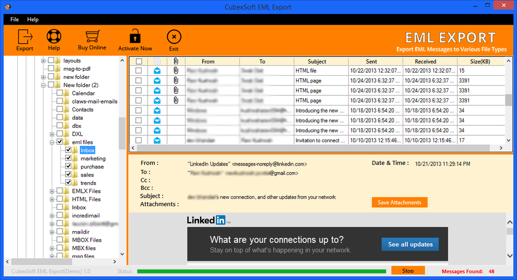 CubexSoft EML Export Screenshot