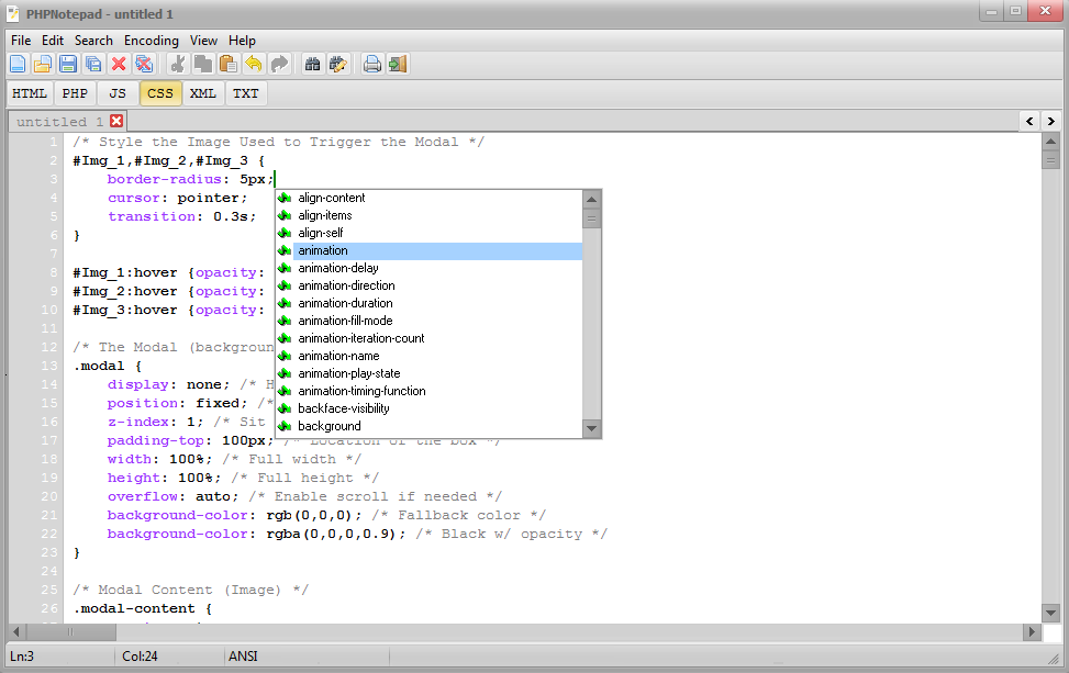 PHPNotepad Screenshot 1