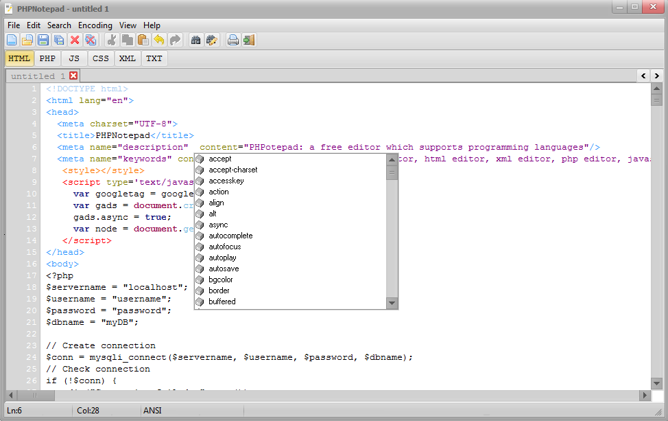 PHPNotepad Screenshot 2