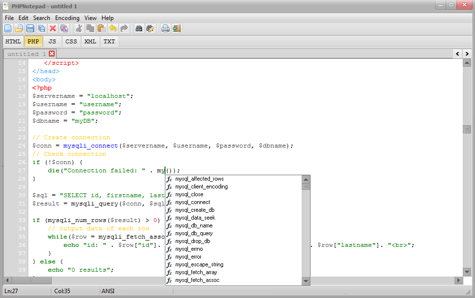 PHPNotepad Screenshot 3