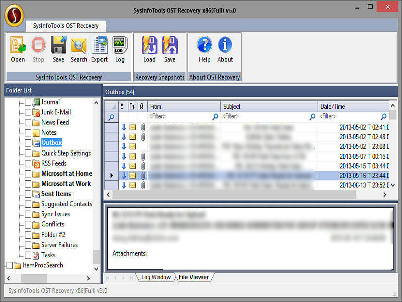SysInfoTools OST File Recovery Screenshot