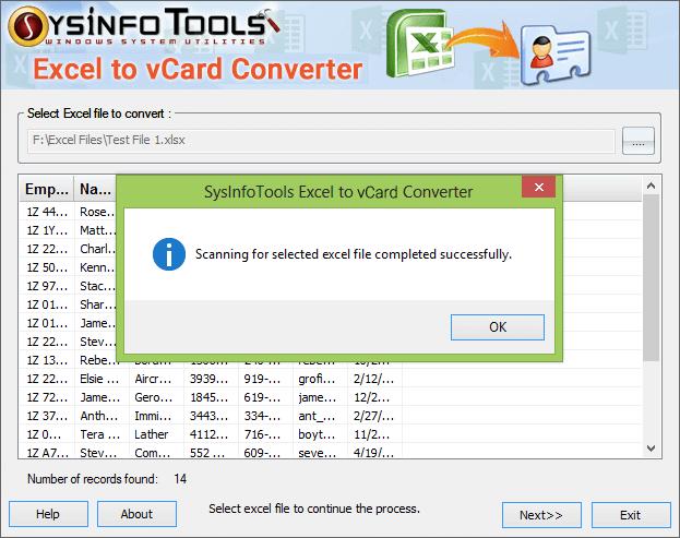SysInfoTools Excel to vCard Converter Screenshot