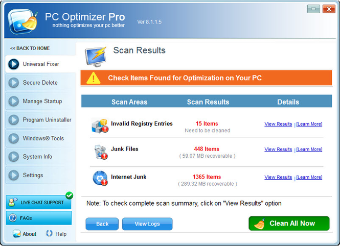 PC Optimizer Pro Screenshot