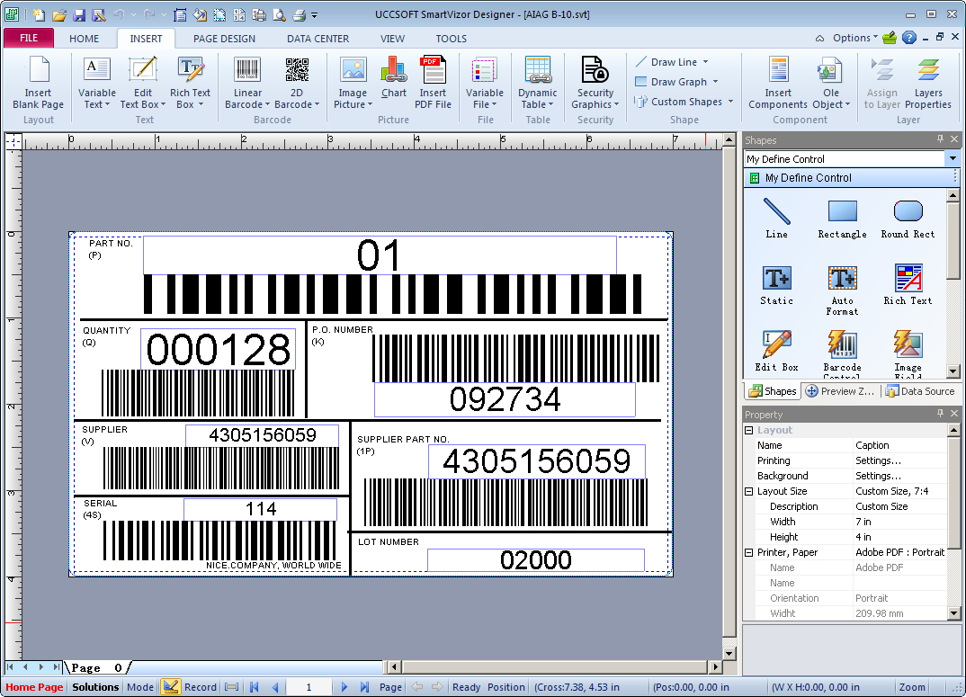SmartVizor Barcode Label Printing Screenshot