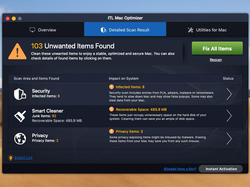 ITL Mac Optimizer Screenshot