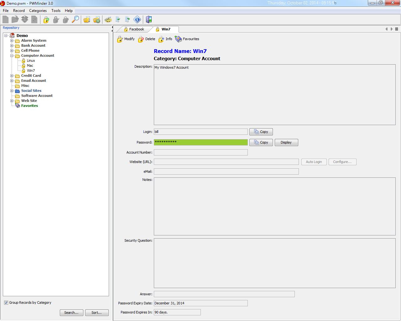 PWMinder Desktop Screenshot