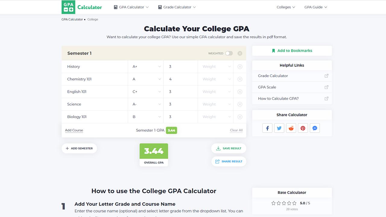 College GPA Calculator Screenshot