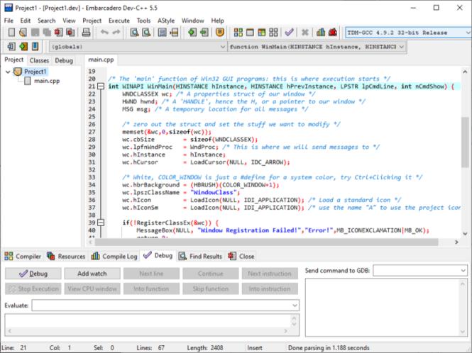 Embarcadero Dev C++ Screenshot