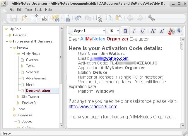AllMyNotes Organizer Lite Edition Screenshot