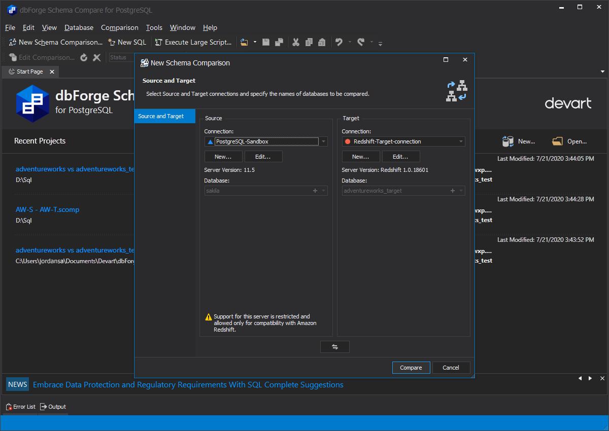 dbForge Schema Compare for PostgreSQL Screenshot