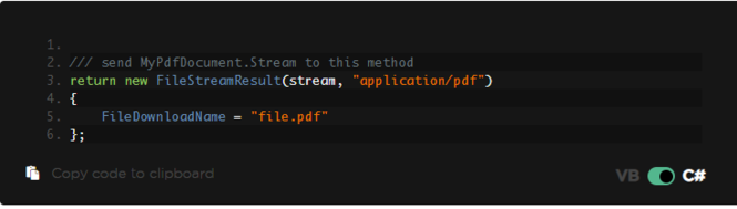 C# Export PDFs and Save to MemoryStream Screenshot
