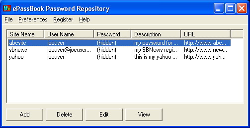 ePassBook Password Repository Screenshot 1