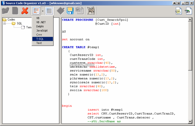 Source Code Organizer Screenshot