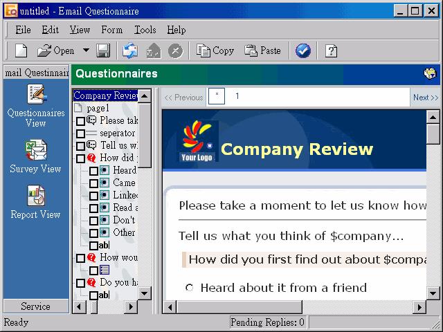 Email Questionnaire Screenshot 1