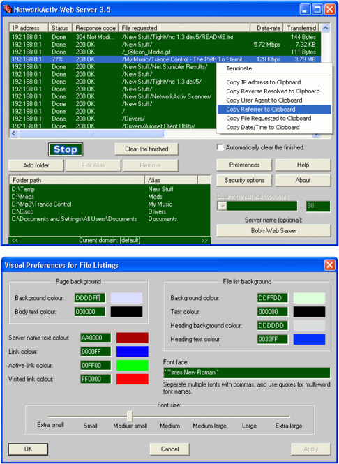 NetworkActiv Web Server Screenshot