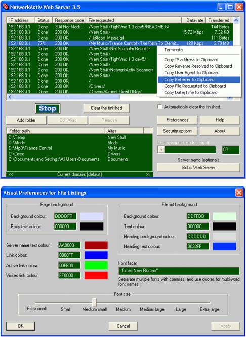 NetworkActiv Web Server Screenshot 1