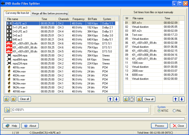 DVD Audio Files Splitter Screenshot
