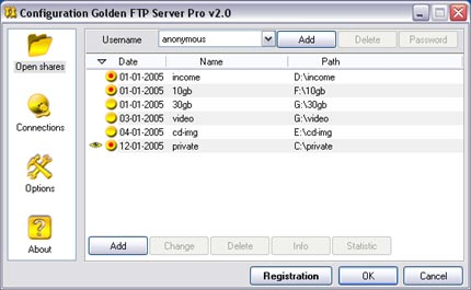 Golden FTP Server Pro Screenshot 2