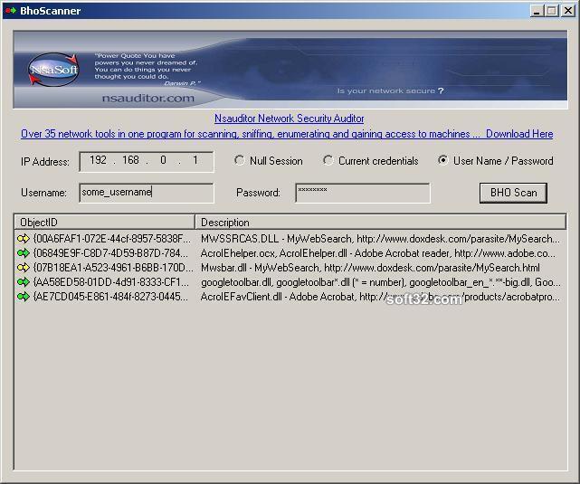 BhoScanner Screenshot 2