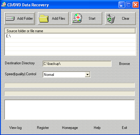 CD/DVD Data Recovery Screenshot